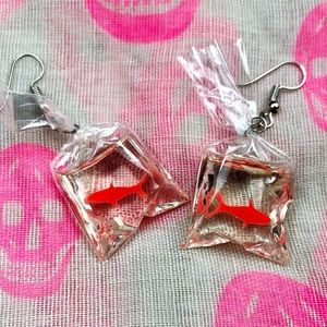 * Goldfish in a Bag Dangle Hook Statement Earrings